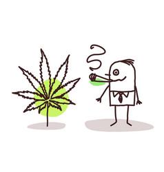 Cartoon man smoking cannabis vector