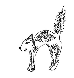cat sitting zentangle stylized vector image