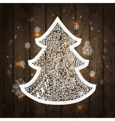 Christmas tree on wooden vector image