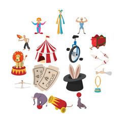 circus show icons cartoon collection vector image