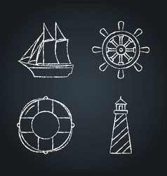 collection of nautical icon sketches on chalkboard vector image