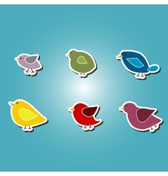 color icons with different birds vector image