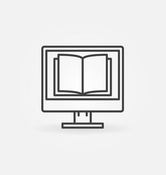 computer with a book icon vector image