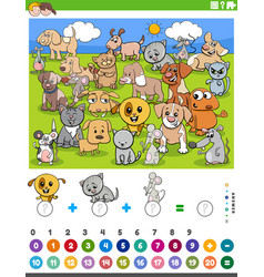 Counting and adding task with cartoon animals vector