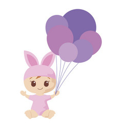 Cute baboy with rabbit costume design vector