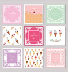 Cute card templates set for girls including vector