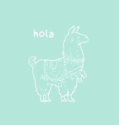 Cute cartoon llama vector