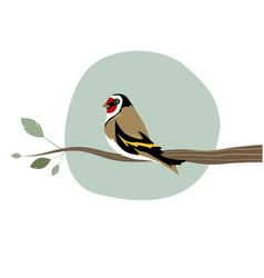 cute goldfinch on a branch isolated on white vector image