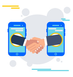 deal agreement with mobile device vector image