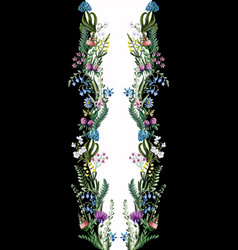 design dress with wild flowers and line vector image