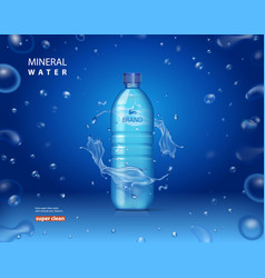 Drinking mineral water bottle ad blue background vector