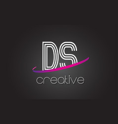 Ds d s letter logo with lines design and purple vector
