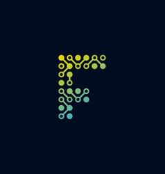 F circuit digital letter logo icon design vector