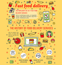 Fast food delivery poster vector