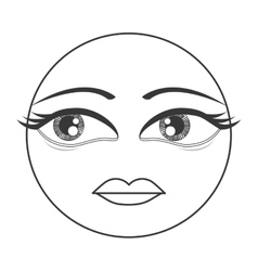 femenine face emoticon icon vector image