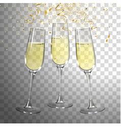 Festive champagne glasses and golden confetti vector