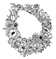 floral wreath with spring flowers black and white vector image