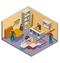 Furniture makers isometric composition vector