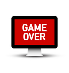 Game over text on computer screen symbol vector