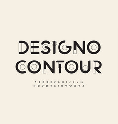 Geometric drawn font cutting edge letters outline vector