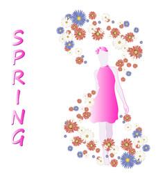 Girls models seasons spring in light colors vector
