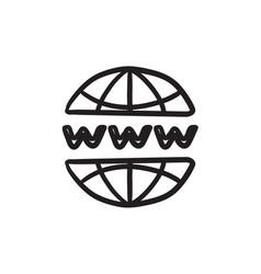 Globe internet sketch icon vector