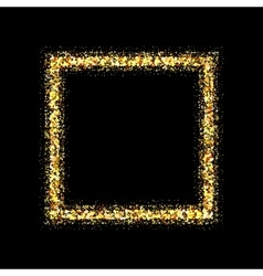 Golden frame on black background vector image