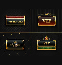 Golden vip frame premium banner with gold vector