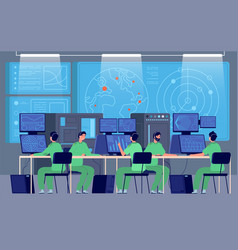 government control center command room engineers vector image