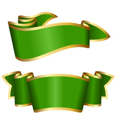 green ribbon collection vector image