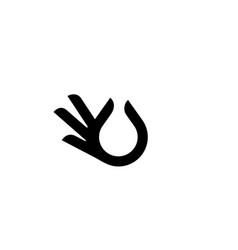Hand gesture black drop oil logo icon vector