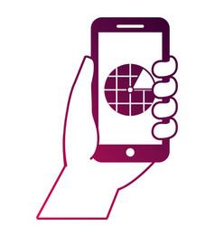 hand holding smartphone gps navigation screen vector image