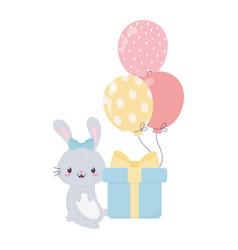 Happy birthday rabbit gift and balloons vector