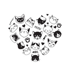 Hearth-shaped collection of cat icons vector