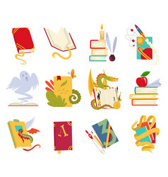 icons of books set with dragon bird vector image