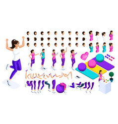 isometrics create your athlete large set emotions vector image