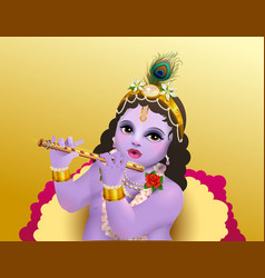 Krishna janmashtami indian religious holiday god vector