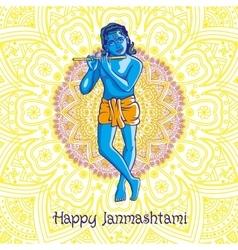 Krishna playing flute vector