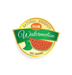 Label of fruit watermelon in colorful vector