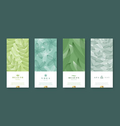 Leaves and nature banner set beauty and health vector