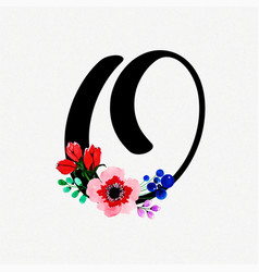 Letter o watercolor floral background vector