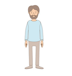 Light color caricature full body man bearded with vector