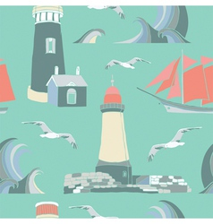Lighthouse Seaside Pattern vector image vector image