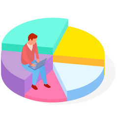 Male analyst sitting on pie chart conducts vector