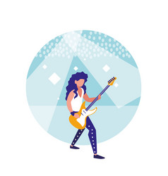 Man playing electric guitar isolated icon vector