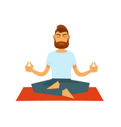 Man practising yoga and sitting in lotus position vector