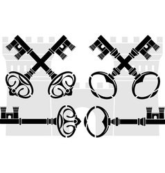 medieval keys and castle vector image