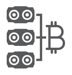 Mining hardware glyph icon money and finance vector