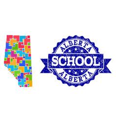 Mosaic map alberta province and grunge school vector