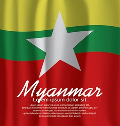 Myanmar flag curtain vector